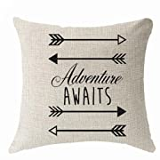 Nordic simple geometry arrow saying adventure awaits Throw Pillow Cover Cushion Case Cotton Linen Material Decorative 18  x18'' Square (18x18 inches, 2)