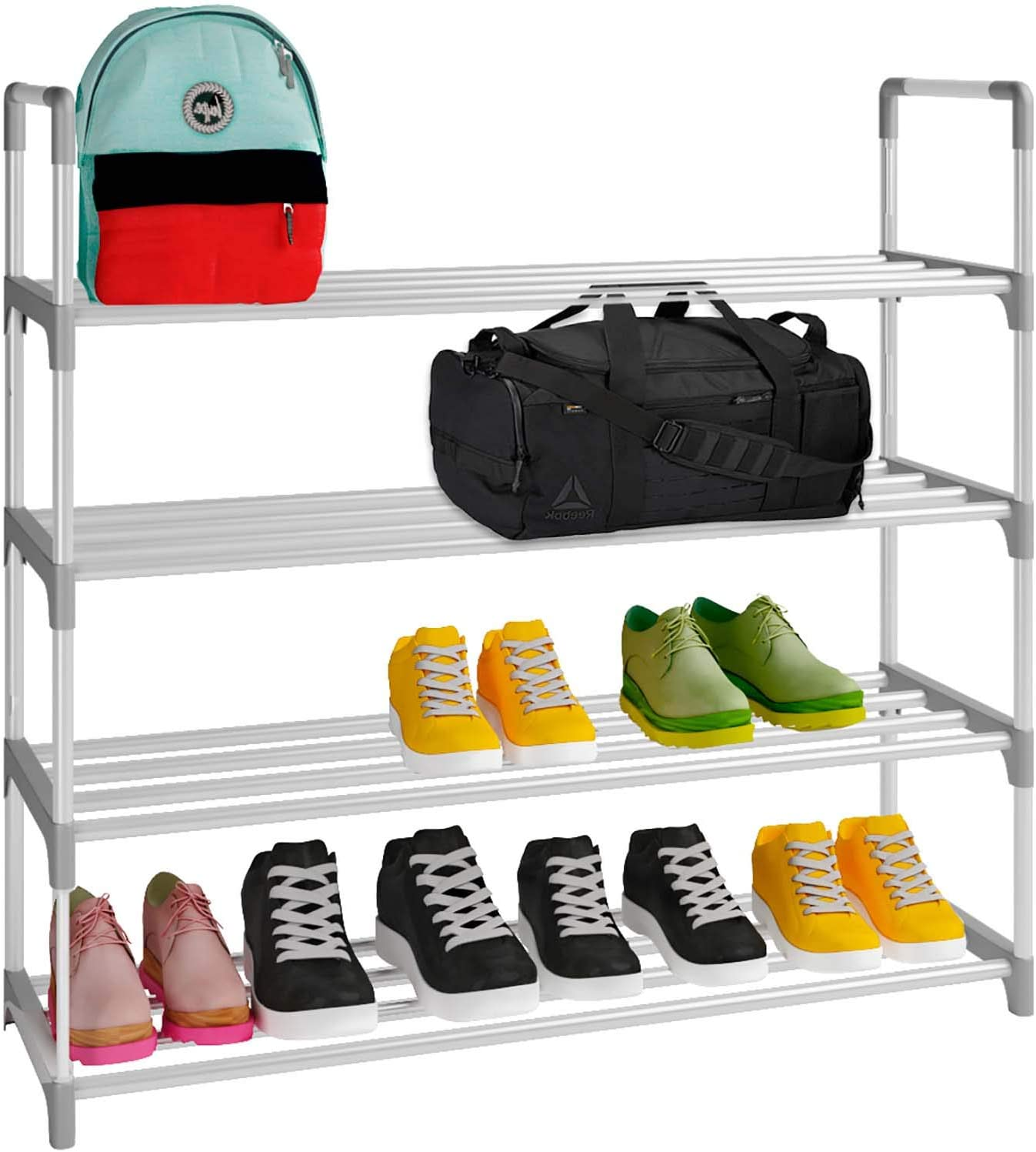 Home Intuition 4-Tier Shoe Rack Organizer Tower Shelf Storage for 20 Pairs, Grey