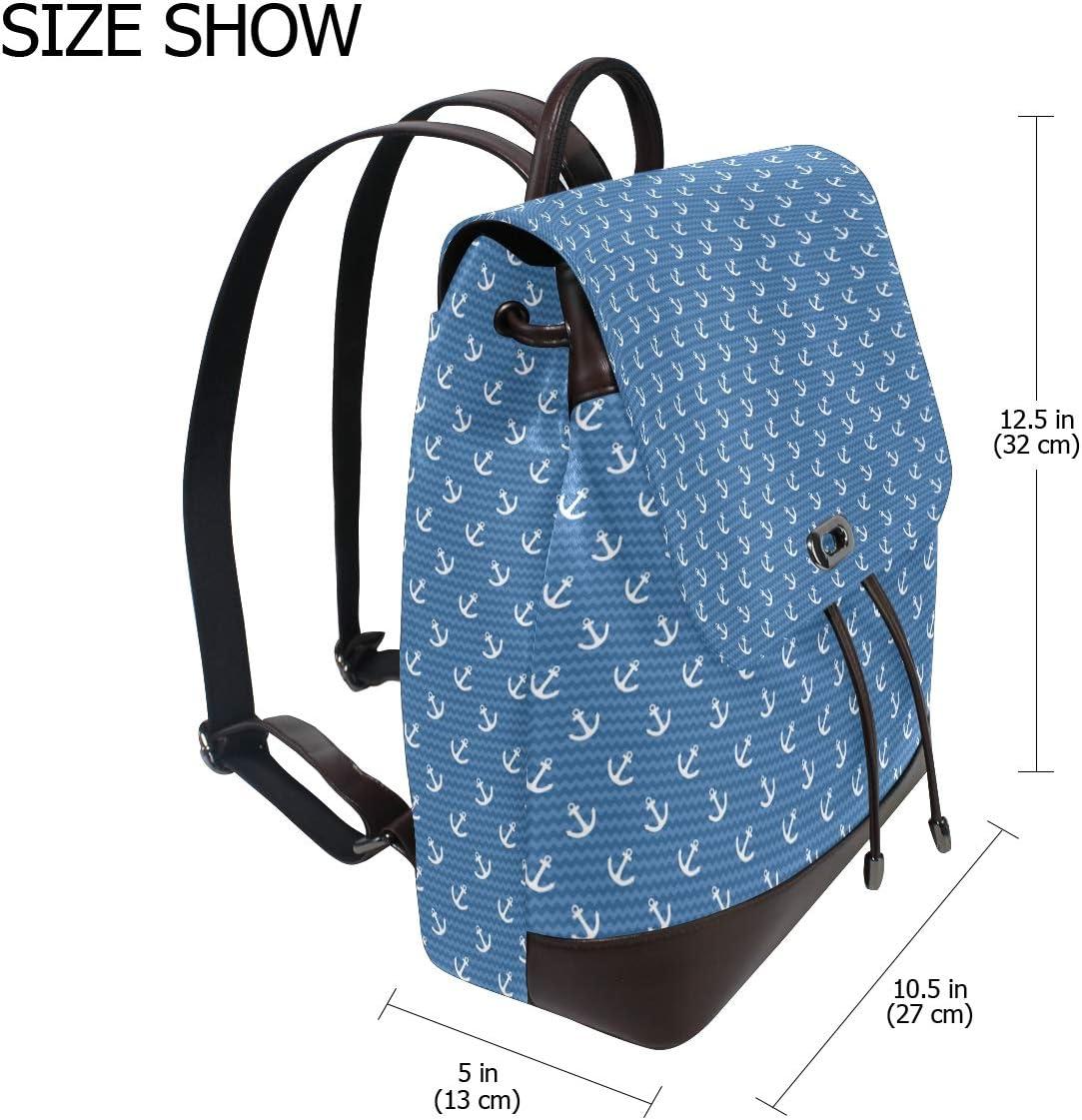 Leather Anchor Sailor Summer Blue Backpack Daypack Elegant Ladies Travel Bag Women Men