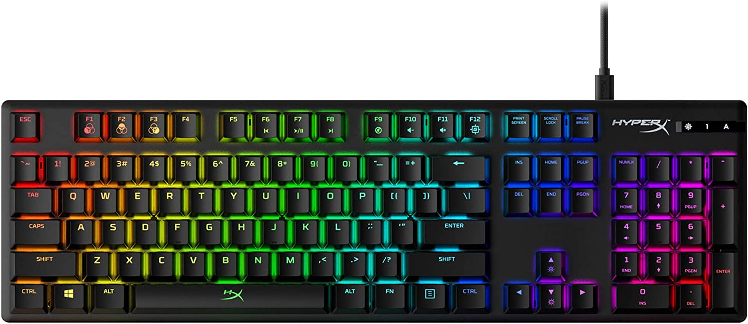 HyperX Alloy Origins - Mechanical Gaming Keyboard, Software-Controlled Light & Macro Customization, Compact Form Factor, RGB LED Backlit - Tactile HyperX Aqua Switch