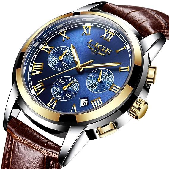 LIGE Relojes Hombre,Impermeable Vestido Negocios Analógico Cuarzo Relojes De Lujo Calendario Cronógrafo: Amazon.es: Relojes