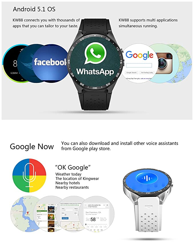 Amazon.com: KingWear KW88 Android 5.1 1.39 inch Amoled Screen 3G Smartwatch Phone MTK6580 Quad Core 1.39GHz 512MB RAM 4GB ROM GPS Gravity Sensor Pedometer ...