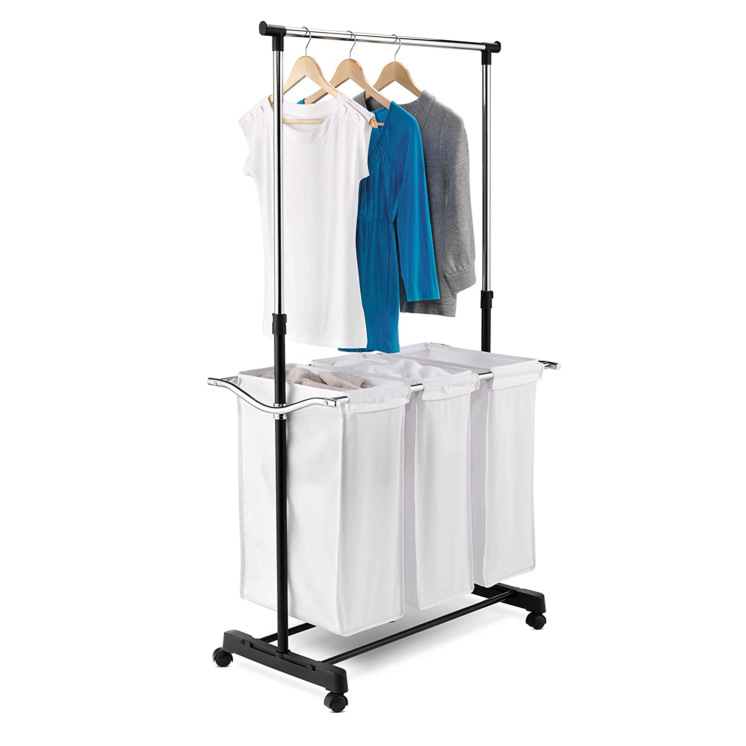Amazoncom Honey Can Do Rolling Laundry Cart With Hanging Bar Home