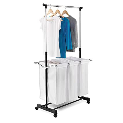 rolling laundry cart with hanging bar hamper sorter honeycando rolling laundry cart with hanging bar amazoncom bar home