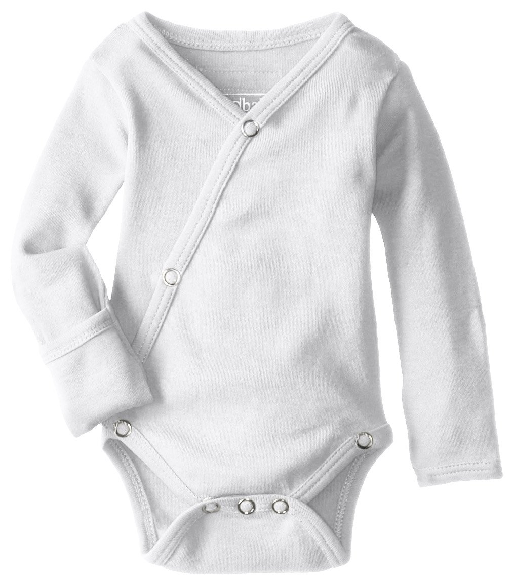 L'ovedbaby Unisex-Baby Organic Cotton Kimono Long Sleeve Bodysuit, White, Newborn (up to 7 lbs.)