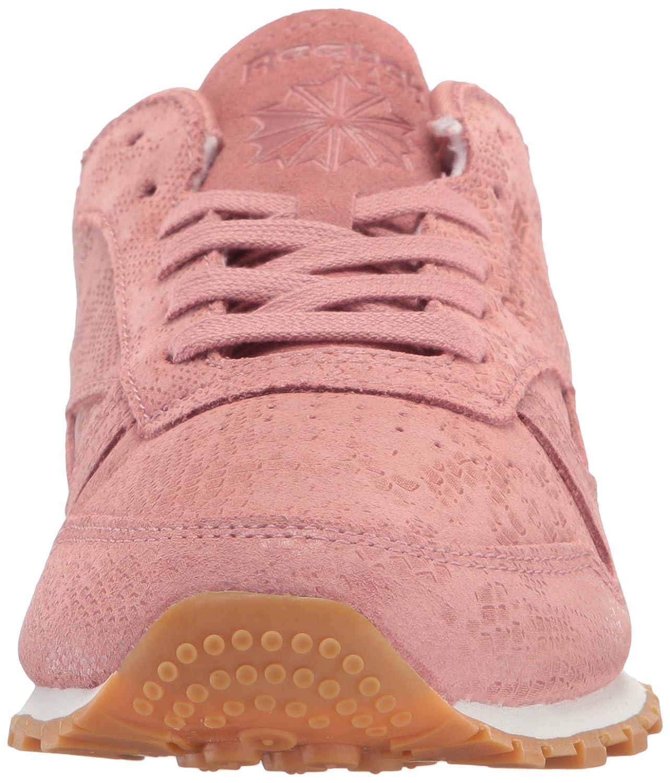 Reebok Women's CL Lthr Clean Exotic Print Track Shoe B01MT8ISYL 6 B(M) US|Sandy Rose/Chalk/Gum