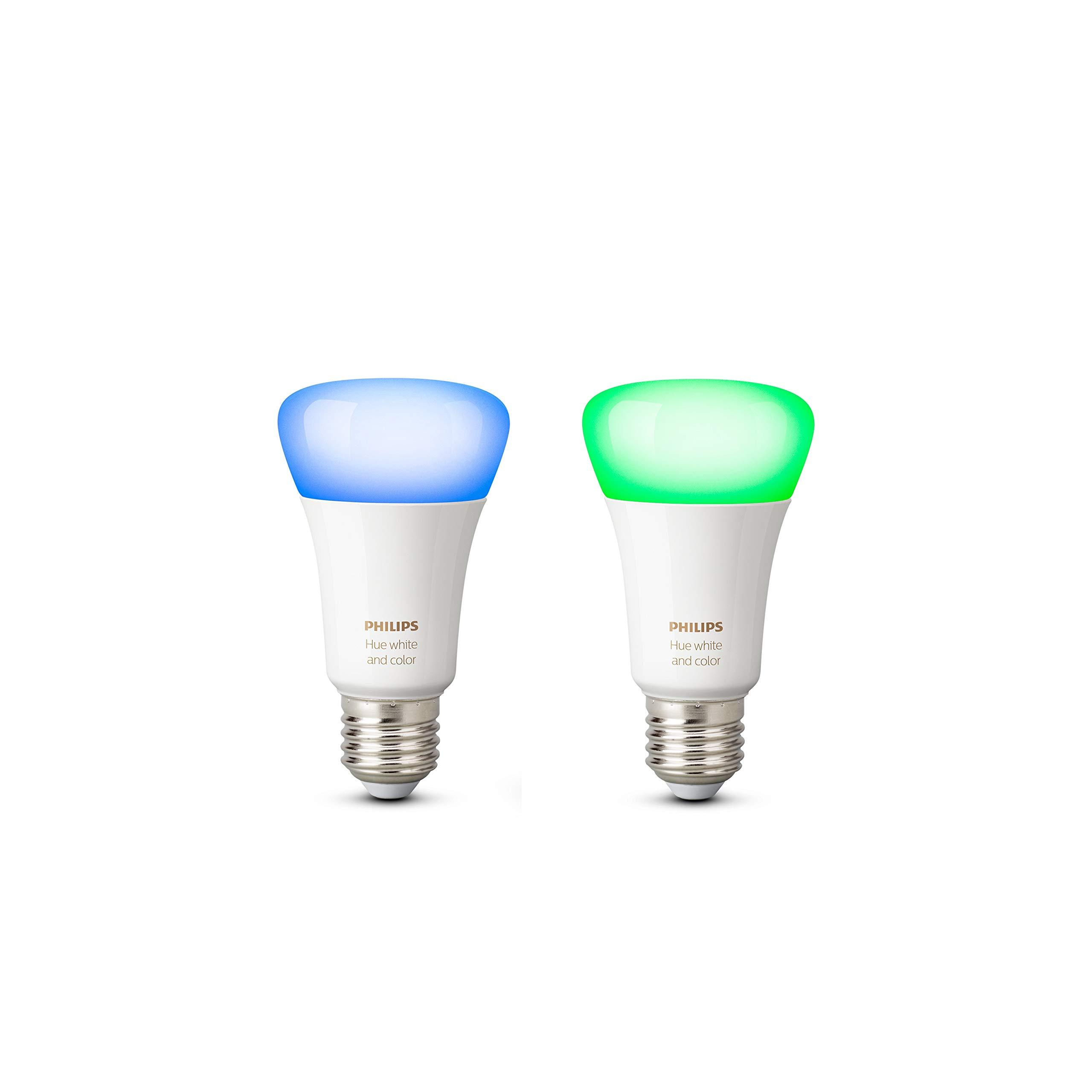 Philips Hue Pack de 2 ampoules connectées White   Color E27 - Fonctionne  avec Alexa 6b0e64e0389