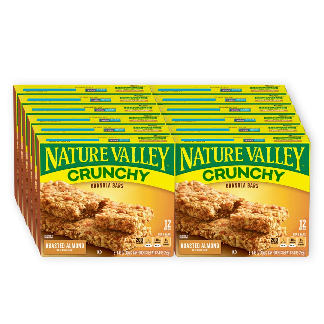 Nature Valley Granola Bars, Crunchy, Roasted Almond, (Each 6 Count of 1.49 oz 2 Bar Pouches) 8.94 oz, Pack of 12