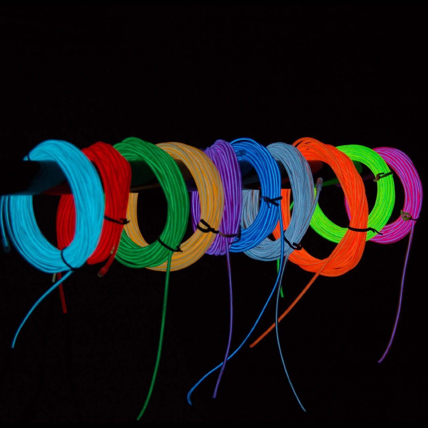 Dodolightness New 15ft 4 Modes Battery Operated Neon Wiring A Light Switch Glowing Strobing Electroluminescent Wiresel Wire 3 Meter Blue1 Home Improvement