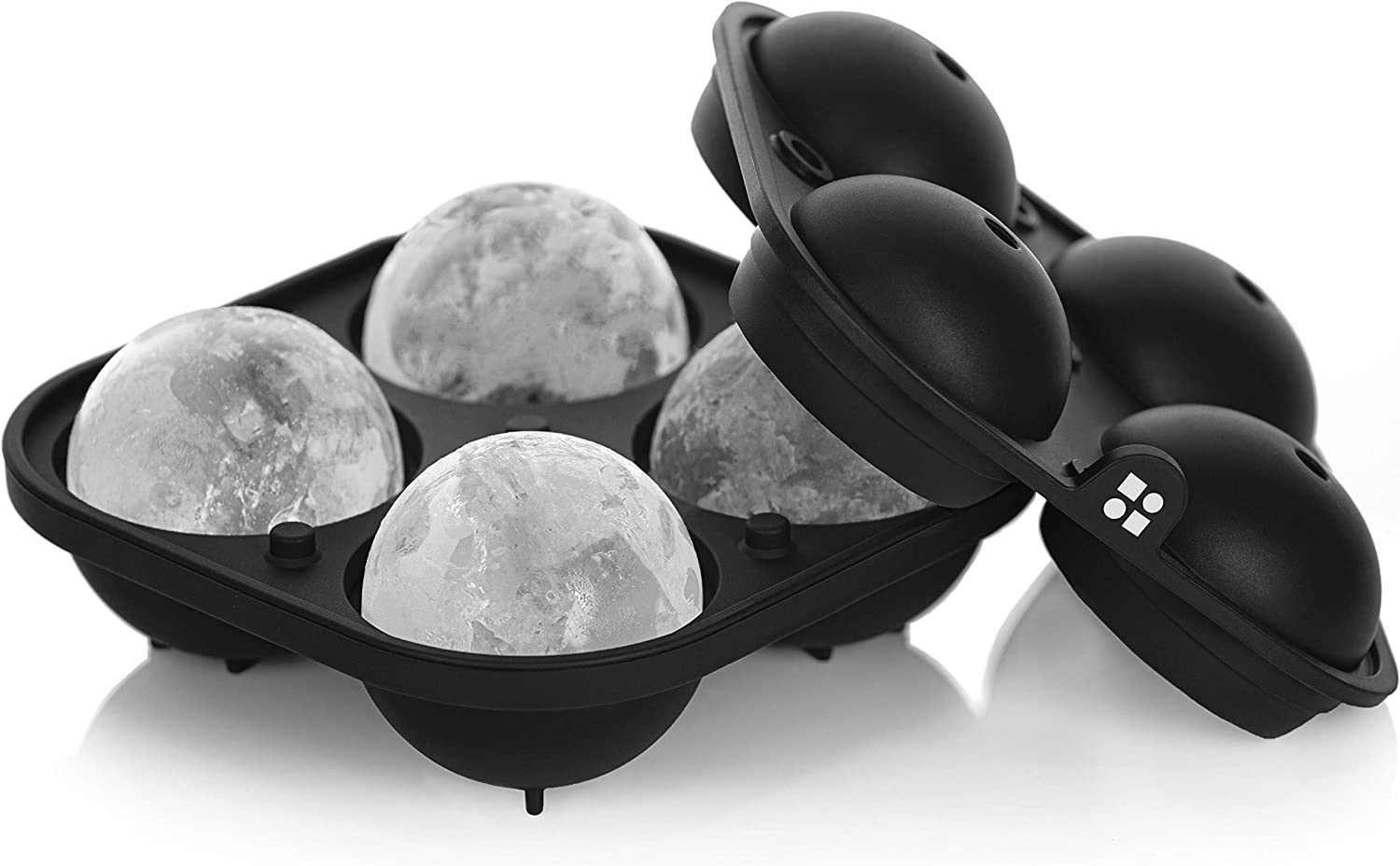 Makes 2.5 Inch Ice Balls Whiskey Ice Sphere Maker Black glacio Large Sphere Ice Mould Tray