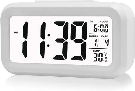 Bianco Cisixin Display LCD Digitale Sveglia Snooze di Ripetizione Light-attivato sensore controluce la visualizzazione della Temperatura e la Data