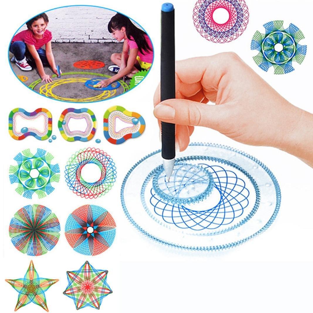Creative Geometric Ruler Stencil Spiral Gear Art Drawing Tool Classic Stationery