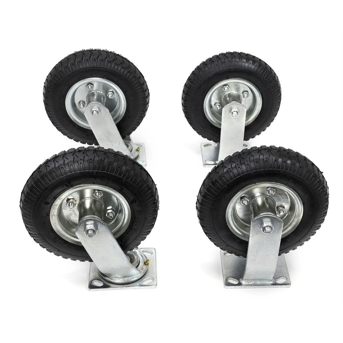9TRADING 4Pcs 8'' Pneumatic Air Tire Wheel 2 Rigid and 2 Swivel HD Farm Cart Caster Large, Free Tax, Delivered within 10 days by 9TRADING