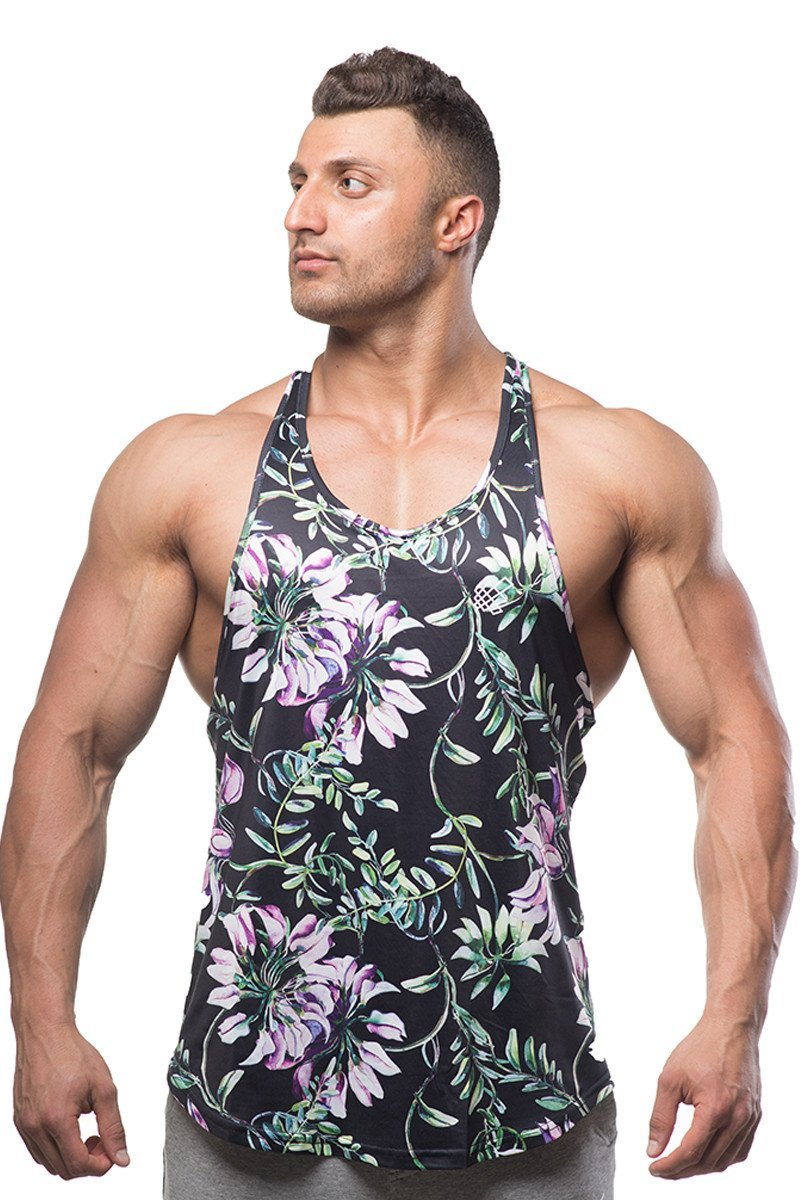 Jed North Bodybuilding Tank Top Gym Stringer Y-Back Muscle Racerback,Floral,Small