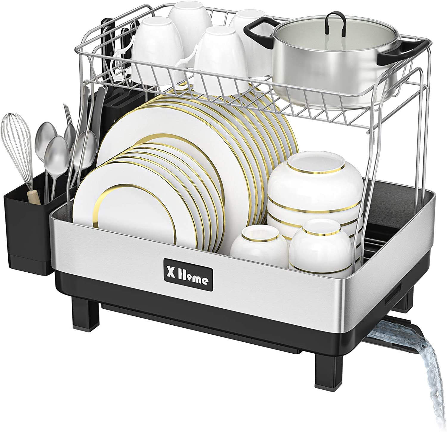 X Home Dish Racks for Counter with Drainage, Removable 2 Tier Kitchen Stainless Steel Frame Dish Rack with Drainboard and Swivel Spout, 21 Inch, Fingerprint-proof