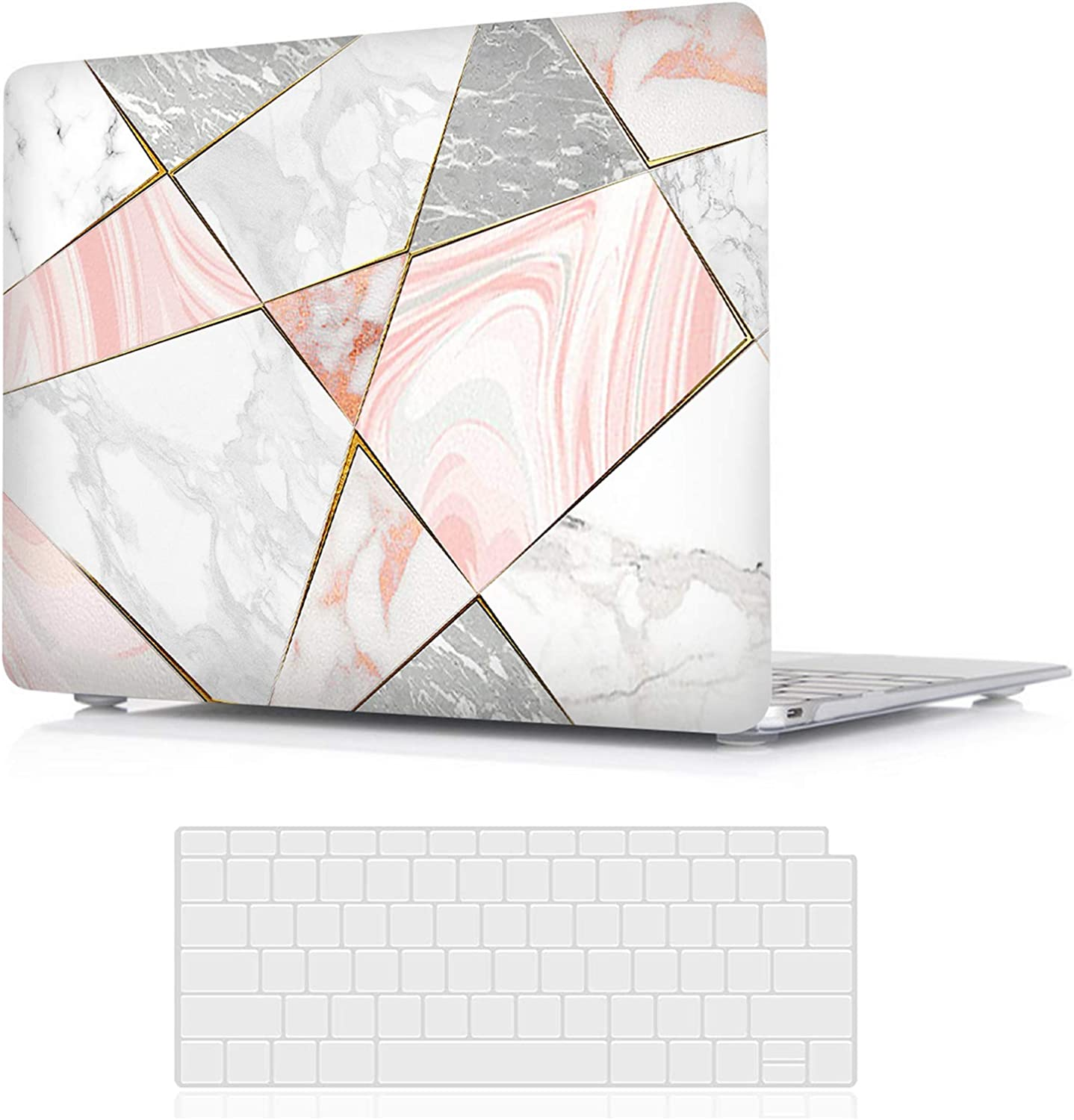 Valkit MacBook Pro 15 inch Case 2019 2018 2017 2016 Release A1990 A1707, Plastic Hard Shell Case Only Compatible with Apple Mac Pro 15 Touch Bar, Rose Gold Marble