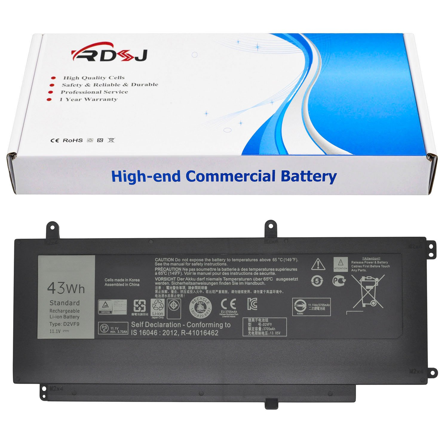 D2VF9 Laptop Battery Compatible Inspiron 15 7547 7548 Series 0PXR51 PXR51 0YGR2V 11.1V 43Wh