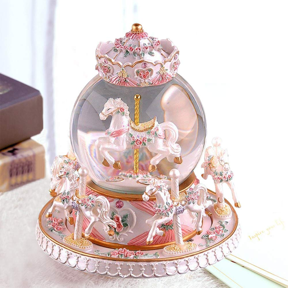 LUCKSTAR Rotate Music Box - Luxury Carousel Music Box Crystal Ball Music Box with Castle in The Sky Tune Creative Home Decor Ornament Gifts Perfect Birthday Gift Valentine's Day by LUCKSTAR