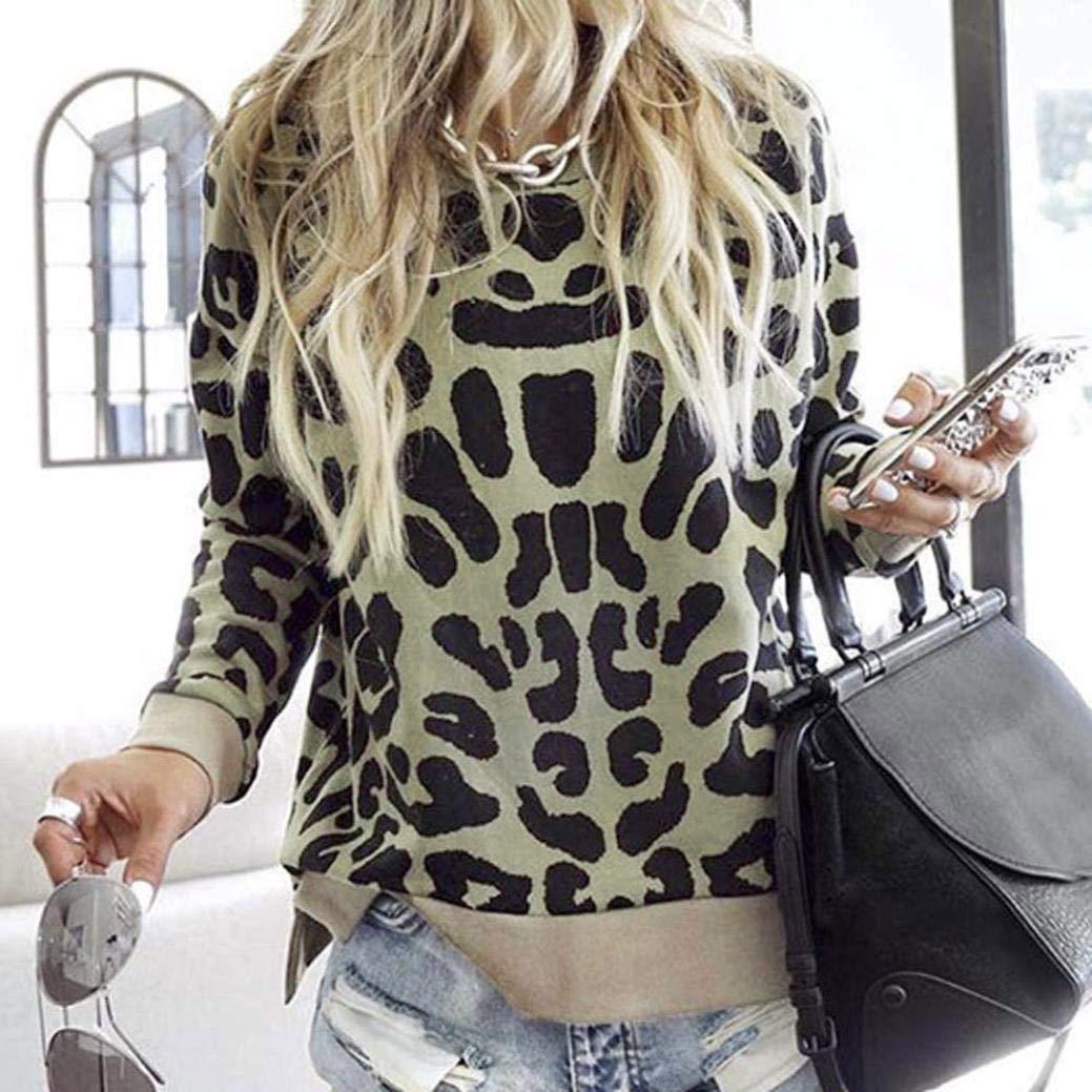 Amazon.com: Women Leopard Print Sweatshirt Long Sleeve O-Neck Jumper Pullover Tops Autumn Winter Warm Blouse: Clothing