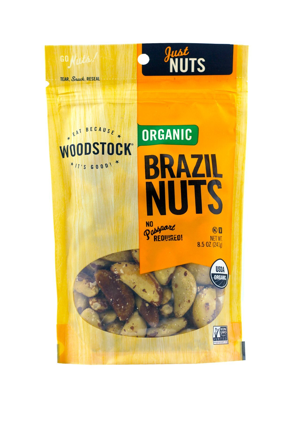 Woodstock Farms Organic Brazil Nuts, 8.5 Ounce Bags (Pack of 2)
