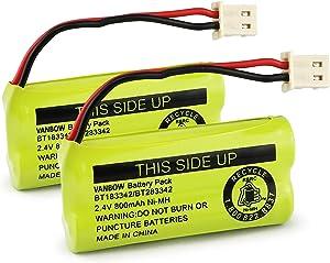 BT183342/BT283342 2.4V 800mAh Ni-MH Battery Pack, Compatible with AT&T VTech Cordless Phone Batteries BT166342/BT266342 BT162342/BT262342 CS6709 CS6609 CS6509 CS6409 EL52100 EL50003 (Pack 2)
