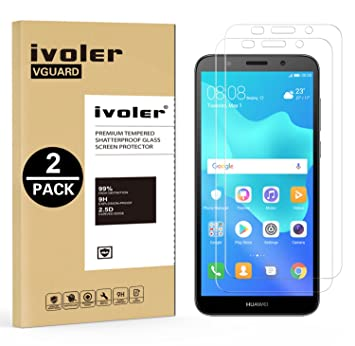 iVoler Compatible with Screen Protector Huawei Honor 7S / Huawei Y5 2018 /  Huawei Y5 Prime 2018, [2 Pack] Tempered Glass Film [9H Hardness]