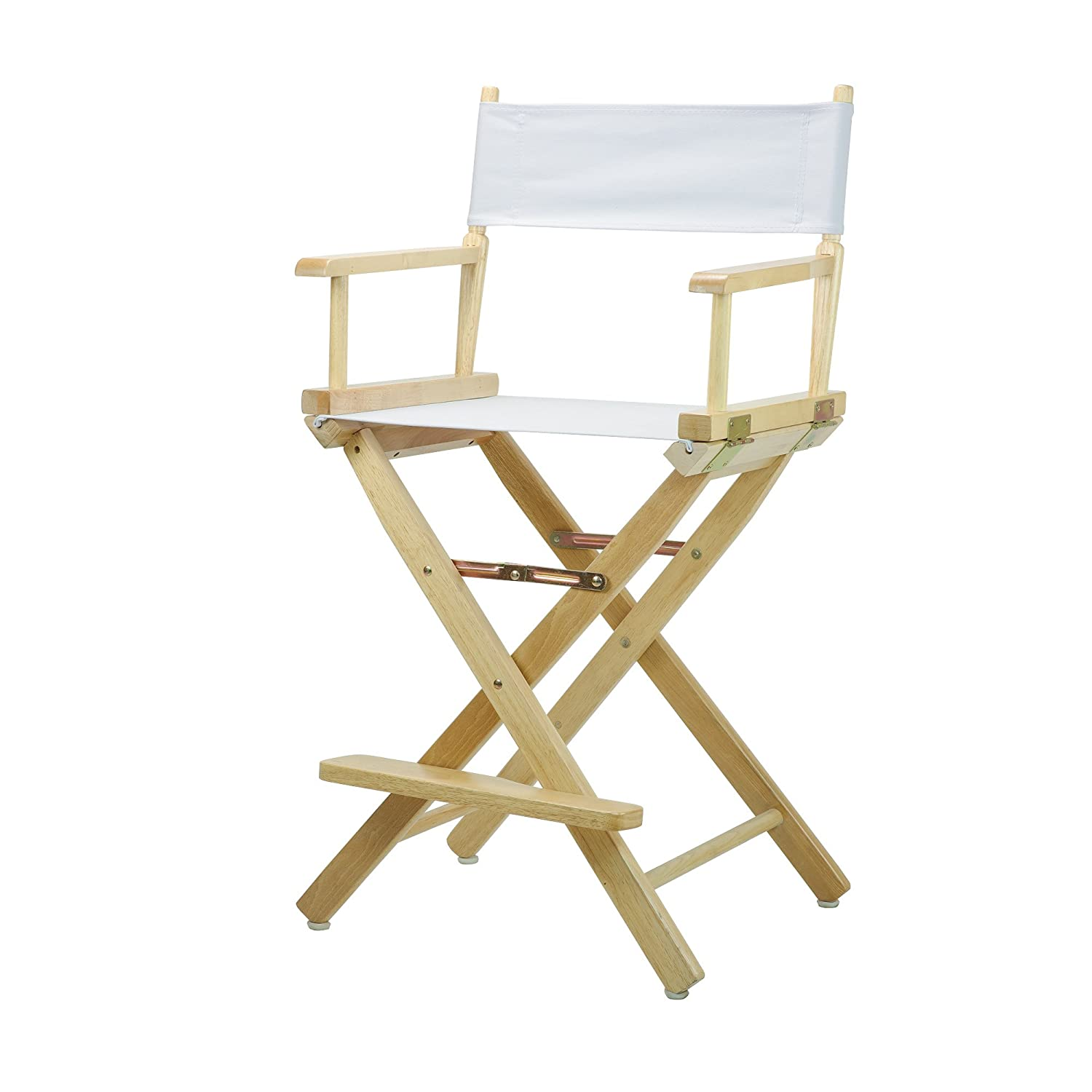 White 24-Inch Casual Home 30-Inch Director Chair Natural Frame, Black Canvas