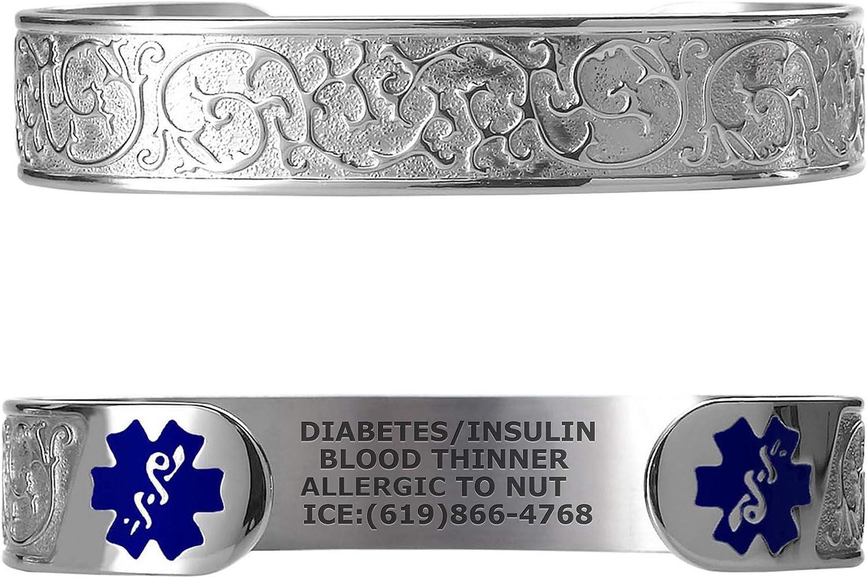 Divoti Custom Engraved Medical Alert Bracelets for Women, Stainless Steel Medical Bracelet, Medical ID Bracelet w Free Engraving Elegant Filigree w 6 Cuff fits 6.5-8.0