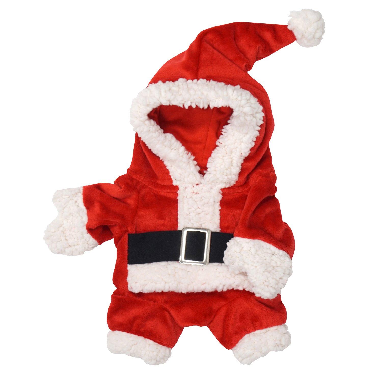 FouFou Dog Jolly Santa Suit, Medium, Red