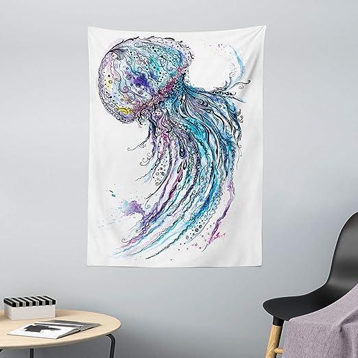 ABAKUHAUS Medusa Tapiz de Pared y Cubrecama Suave, Arte Color Cyan Océano Estampa Animal Estilo Bosquejo Creativo Tema Marino, Lavable Colores No ...