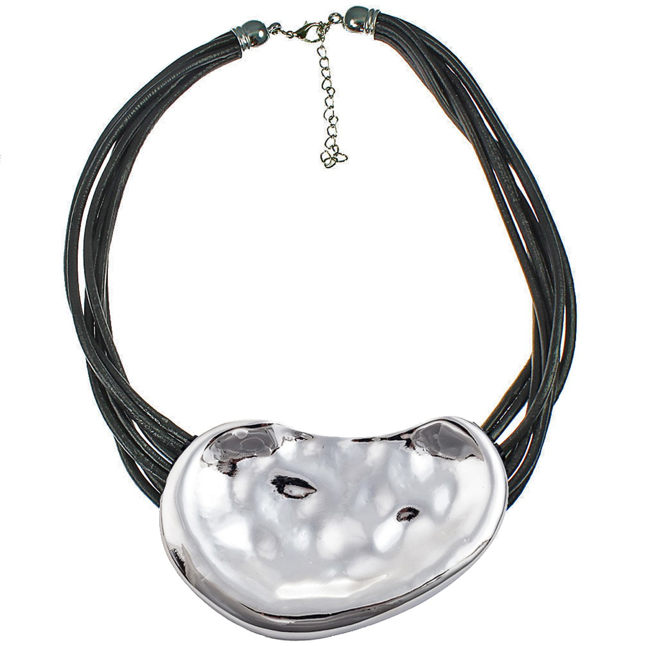Huge chunky silver hammered statement jewellery pendant cord choker necklace