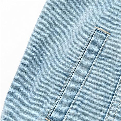 Honghu Mujer Chaquetas Flojo Jeans Manga Larga Cárdigan Corta Abrigo Vaquera
