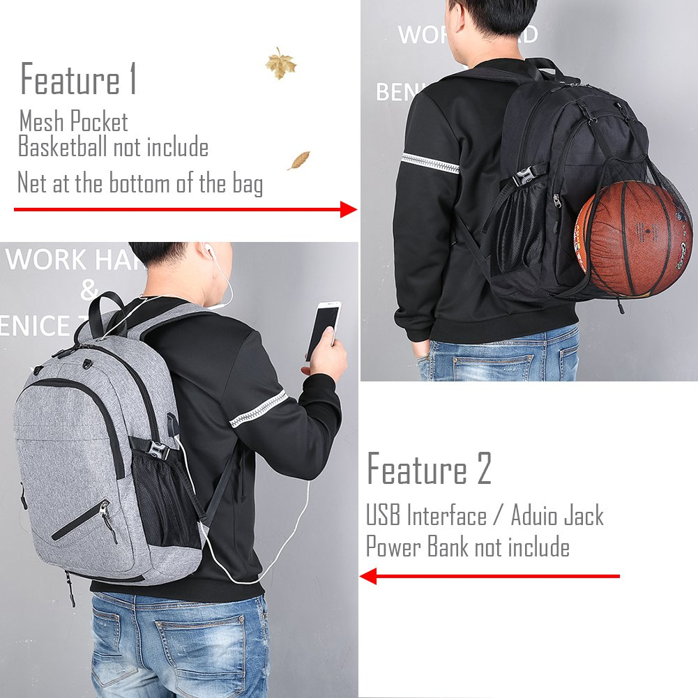 Laptop Bags, Backpack with Basketball Nets Mesh Sports Business Backpacks,Casual Travel Daypack Computer Shoulder Bag with USB Charging Port,Rain proof cover Fits UNDER 15 inch (Black) by TEGOOL (Image #2)
