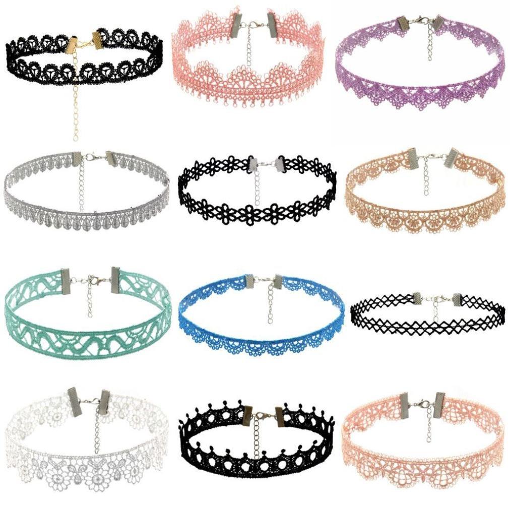 Women Necklace Pendant ,Lavany 6Pieces Choker Stretch Velvet Classic Gothic Tattoo Lace Necklace Set Gift For Women (D)