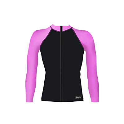 Aeroskin Nylon Long-Sleeve Rashguard with Color Accents And Front Zip: Clothing