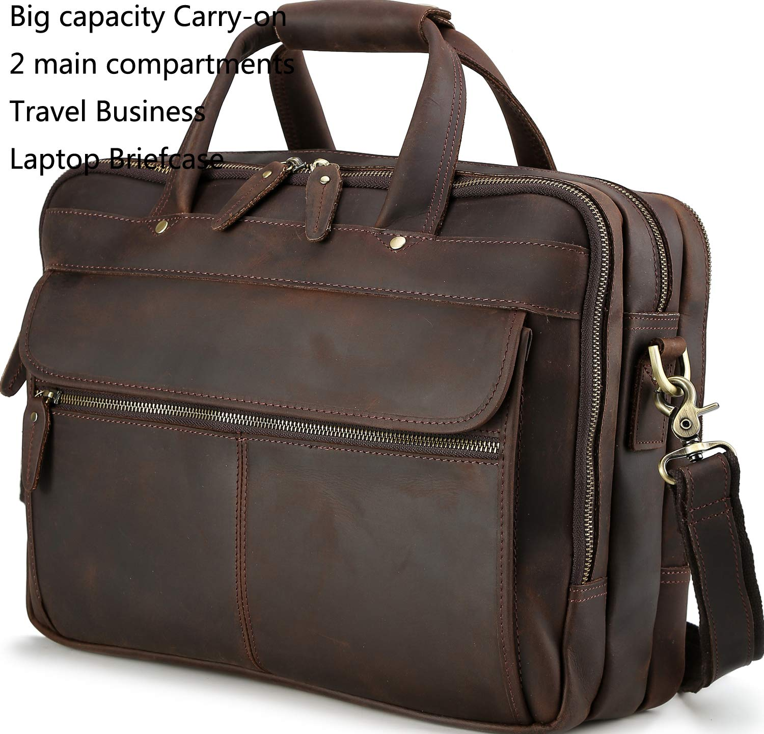 57e3b1d576d5 Iswee Men Vintage Thick Leather Travel Carry-on Big Capacity Business Trip  Laptop Briefcase