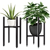 2 Pack Metal Plant Stand for Indoor Outdoor,Black Mid Century Modern Planter Stands,Free Tall&Low Flower Pot Holder,Fit Up to