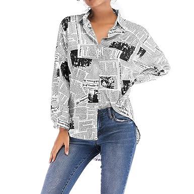 3e3d43ef3a Respctful ♪☆ Women's Fashion Tops Newspaper Printed Shirt Long Sleeve  Blouse Asymmetrical Hem Tops Stylish