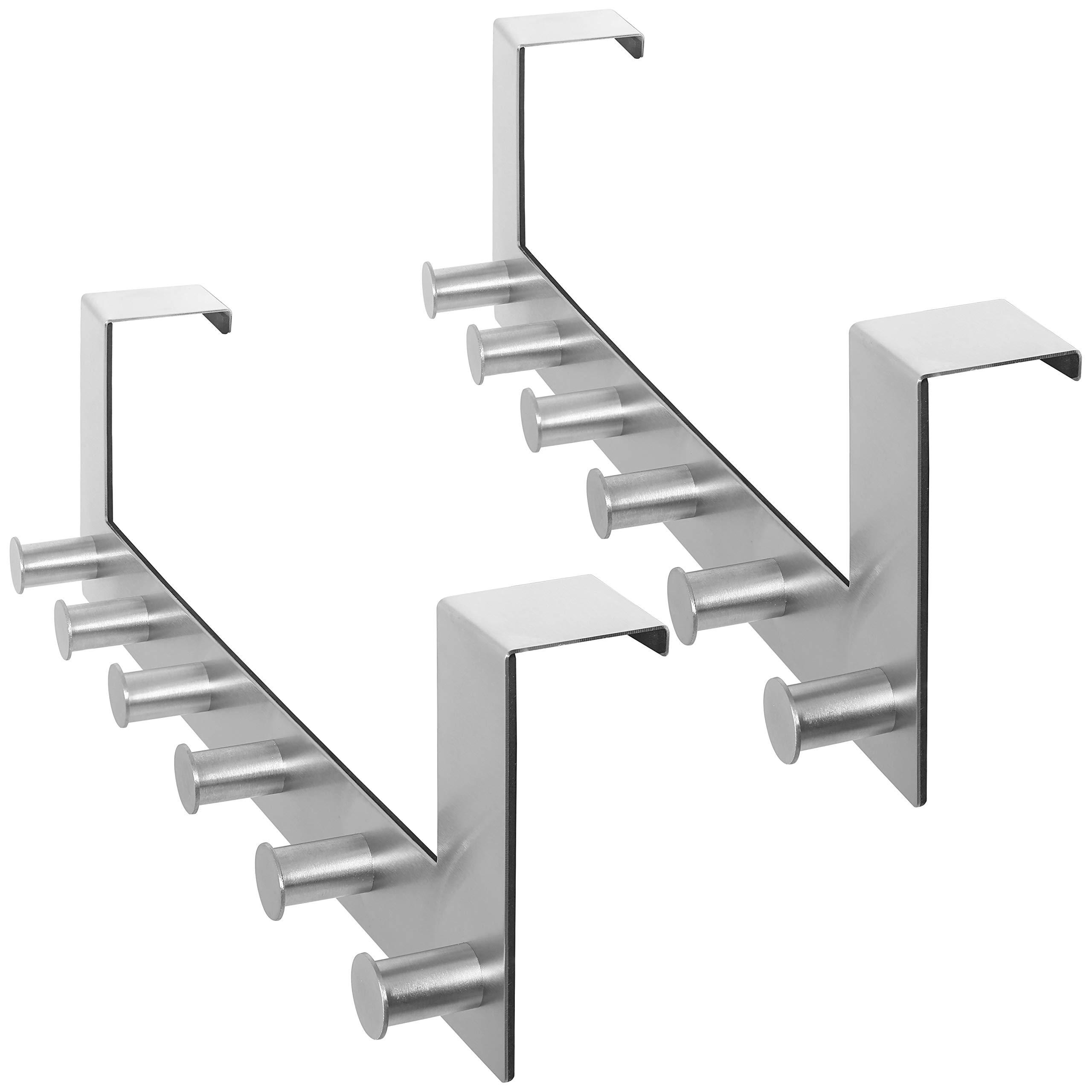 WEBI Over-The-Door Hooks : Modern, Heavy Duty, Anti-Rust, Clou Door Hanger,6 Coat Hook Pegs, Towel Holder, Utility for Coats, Towel, Hats, Bags, Scarves, Purse (6 Pegs, Stainless Steel,Satin,2 Packs) by WEBI (Image #1)