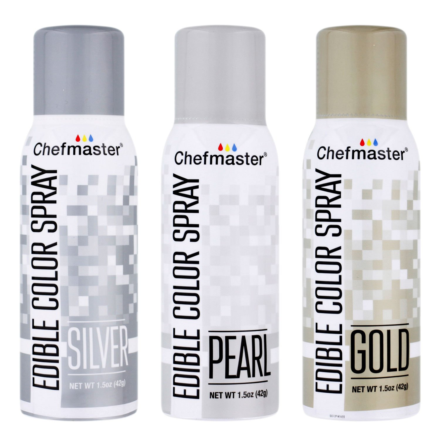 U.S. Cake Supply by Chefmaster Edible Spray Cake Decorating Color Metallic Theme 3-Pack - 1.5 ounce Cans (Gold, Silver, Pearl) by U.S. Cake Supply