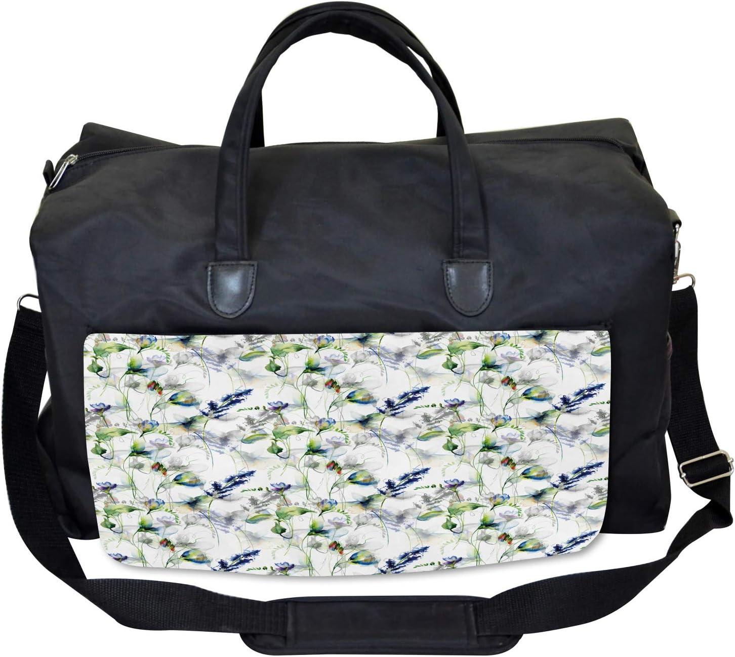 Ambesonne Floral Gym Bag Large Weekender Carry-on Sweet Pea Blossom Design