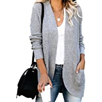 MEROKEETY Womens Long Sleeve Open Front Cardigans Chunky Knit Draped Sweaters Outwear with Pockets