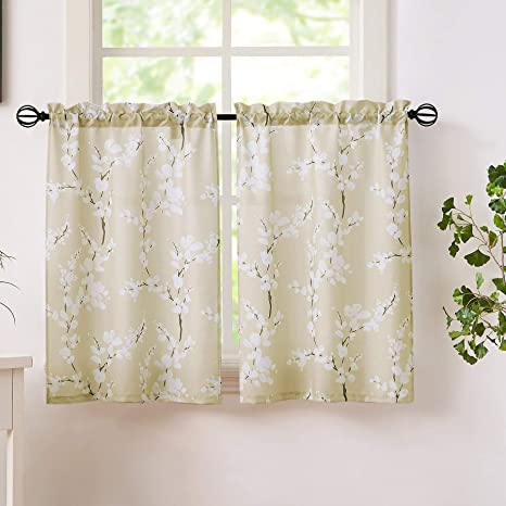 Amazon Com Fmfunctex Beige Kitchen Tier Curtains Windows White Blossom Print Light Filtering Privacy Tiers For Bathroom Living Room Privacy Small Café Curtain Sets 26 W X 24 L 2 Panels Home Kitchen