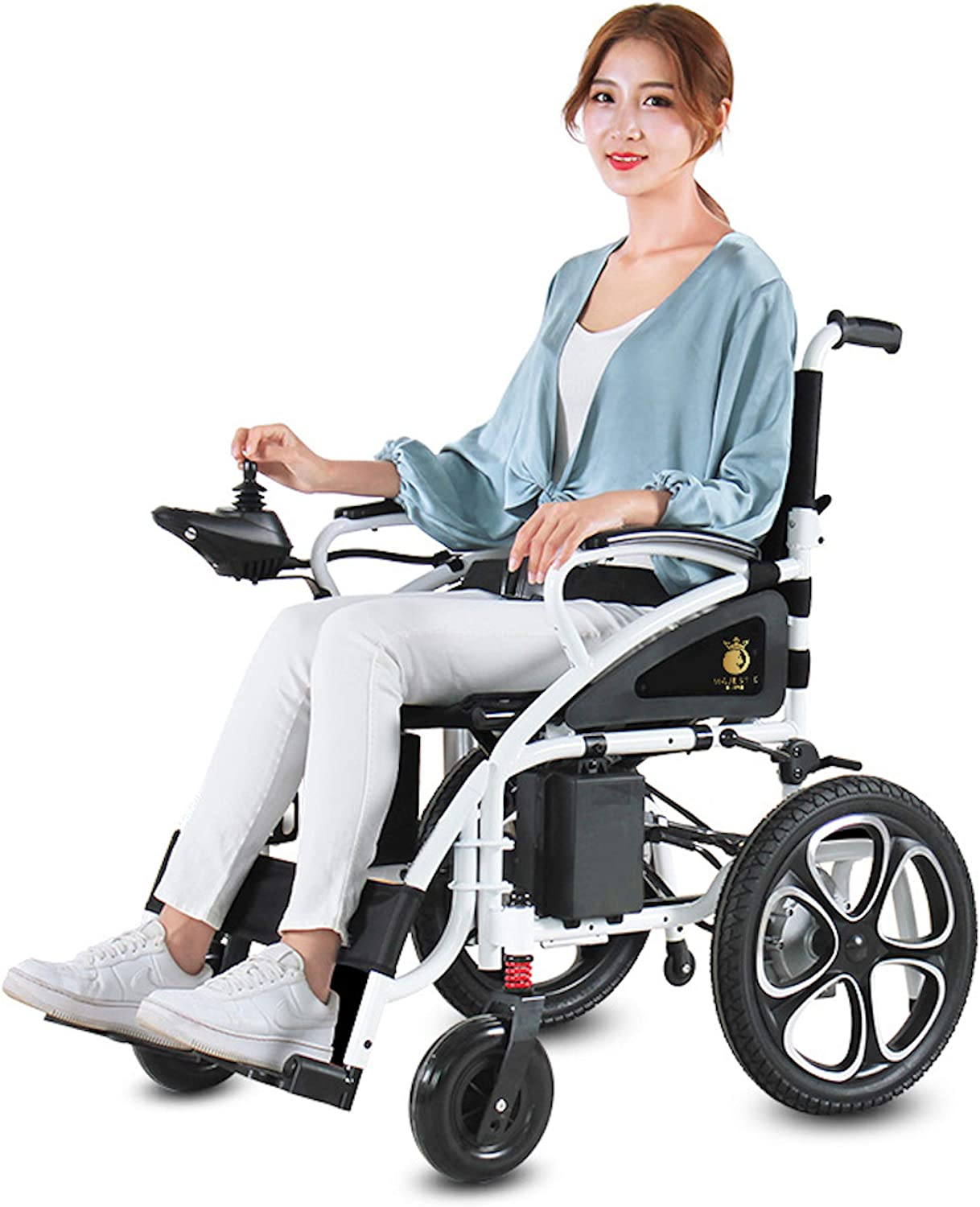 2021 Updated Electric Wheelchairs Silla de Ruedas Electrica para Adultos Airline Approved Transport Friendly Lightweight Folding Electric Wheelchair for Adults by Comfy Go (White): Health & Personal Care
