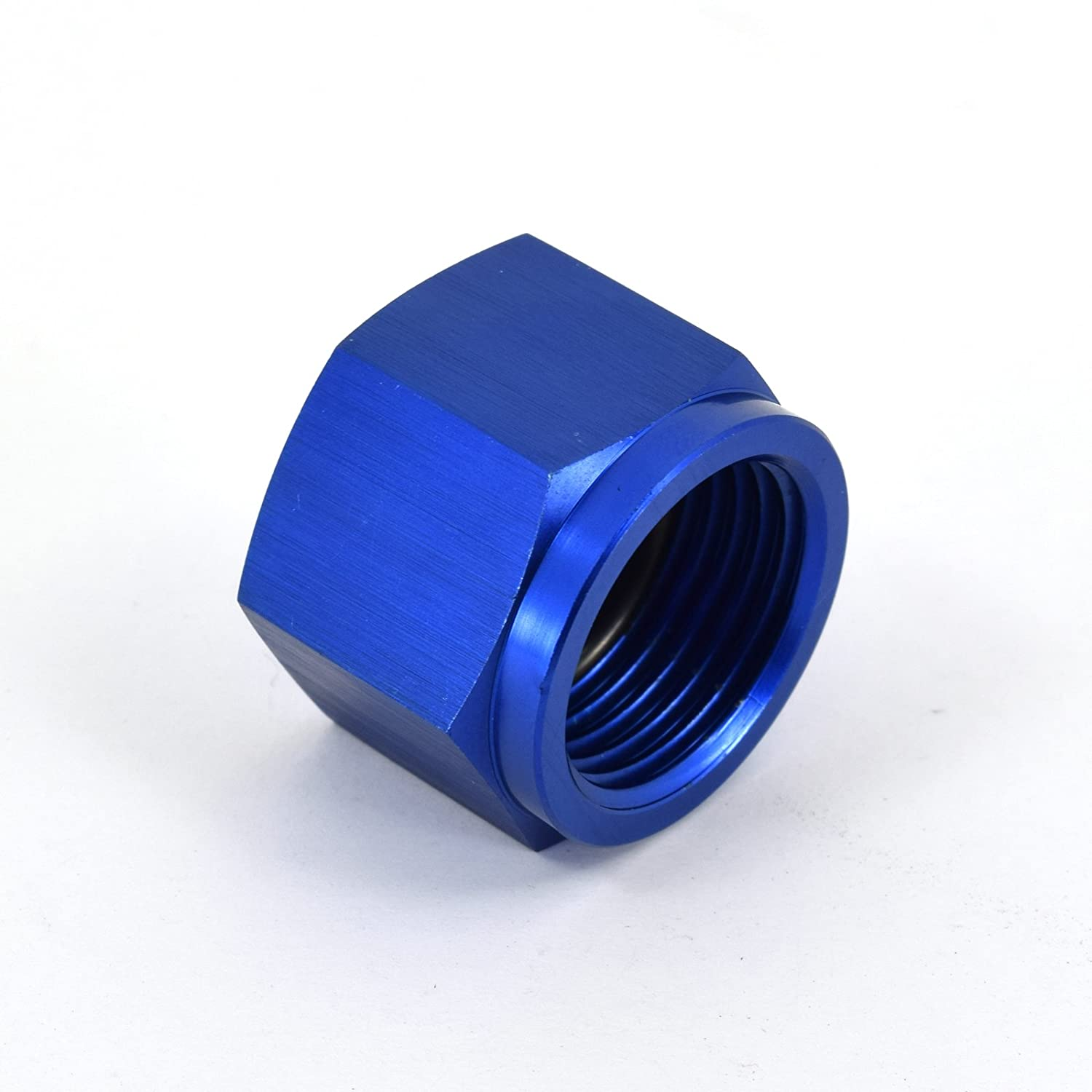 Oil Blue 10AN Straight Aluminum O-Ring Flare Cap for Fuel Coolant and Air Kraken Automotive