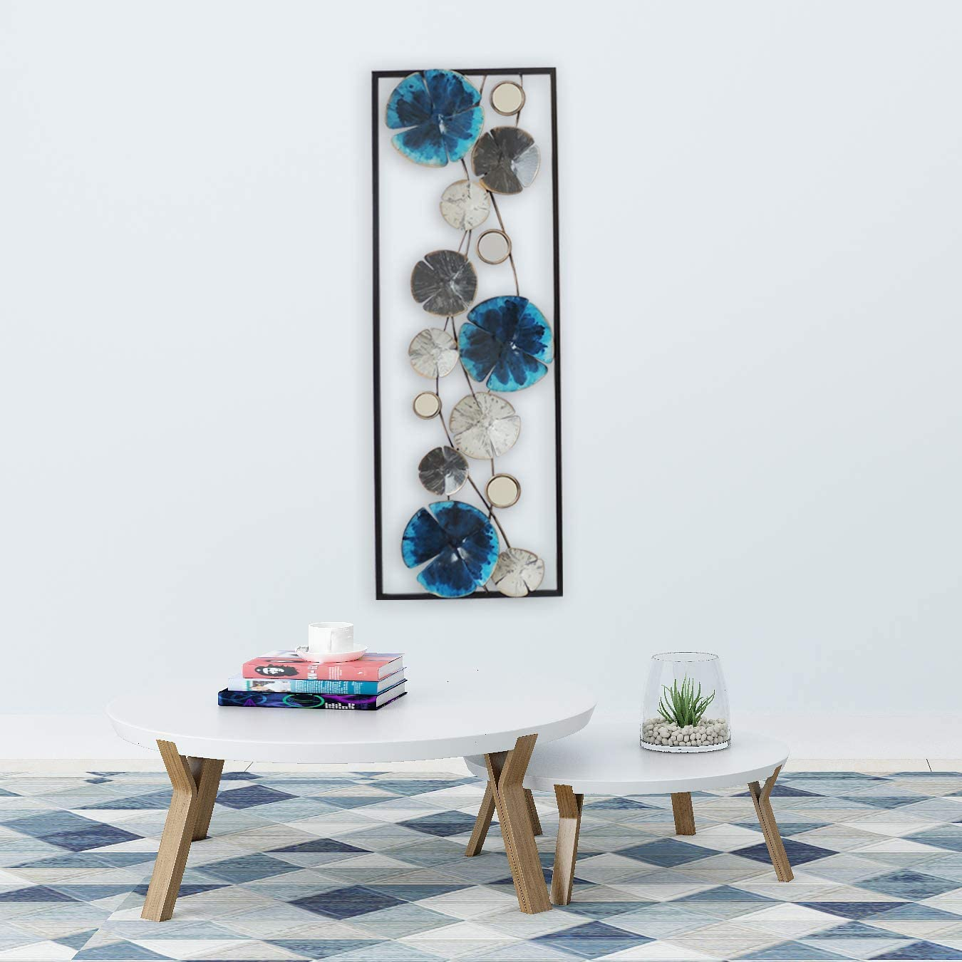 All American Collection Modern Chic Aluminum/Metal Wall Decor Frame | Blue & White Flowers