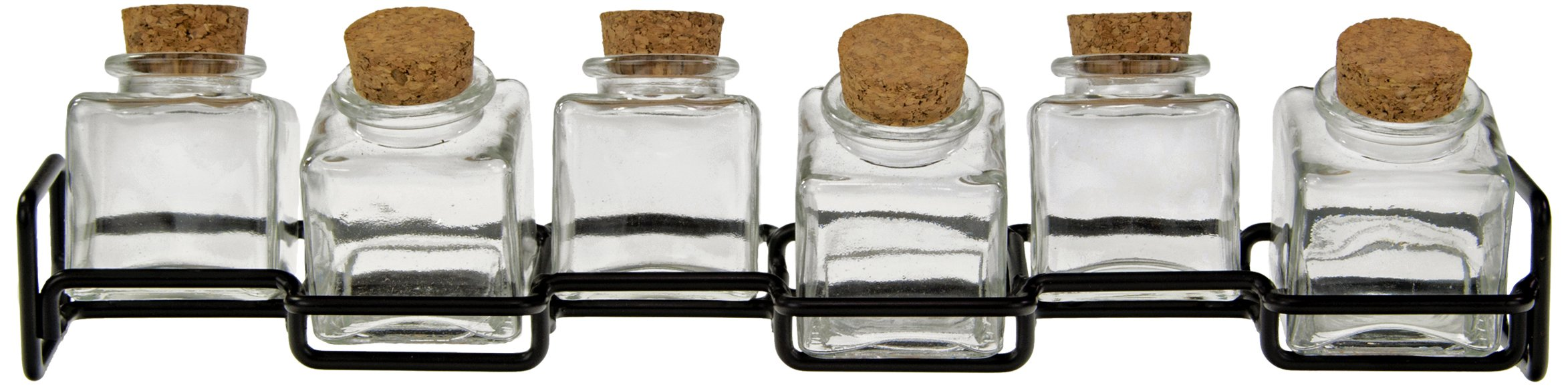 Couronne Company M224-6156 Horizontal Metal Spice Rack with Square Jars, 3 1/2'', Clear, 1 Piece