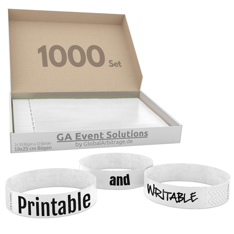 Party Einlassb/änder 500 Eintrittsb/änder aus Tyvek zum selbst gestalten und bedrucken in Wei/ß von GA Event Solutions Festival Armb/änder f/ür dein Event