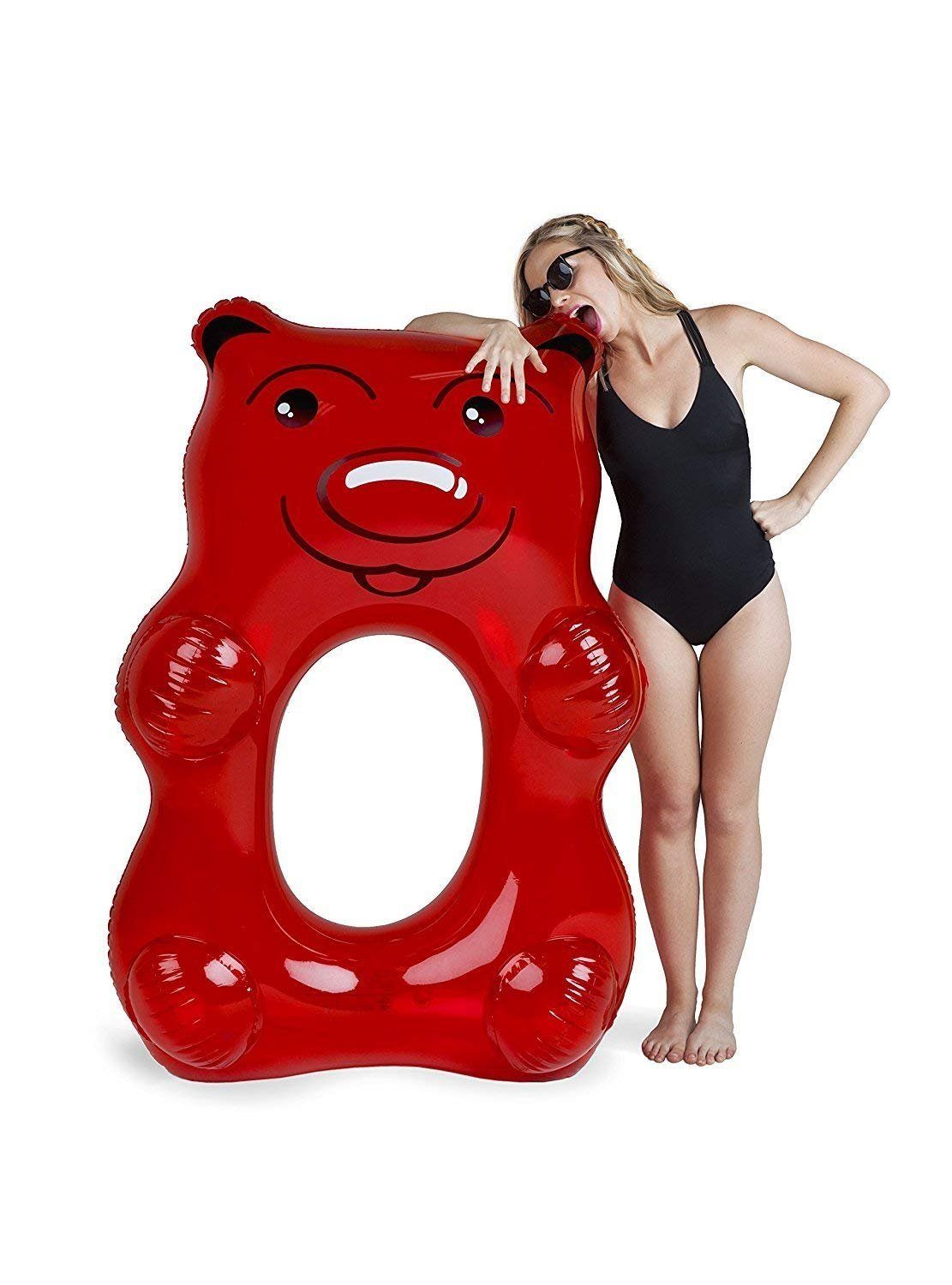 Red or Green Teddy Gummy Bear - Inflatable Pool Toys Float Inflatable Floating Raft PVC Giant Popsicle Pool Lounger Air Mattress Blow Up Beach Toy for Kids Adults Summer Holiday - Made of Premium Strong PVC Material - By Guilty Gadgets