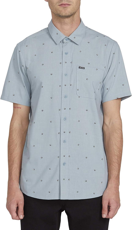 Volcom Mens Mark Mix Short Sleeve Modern Fit Button Down Shirt